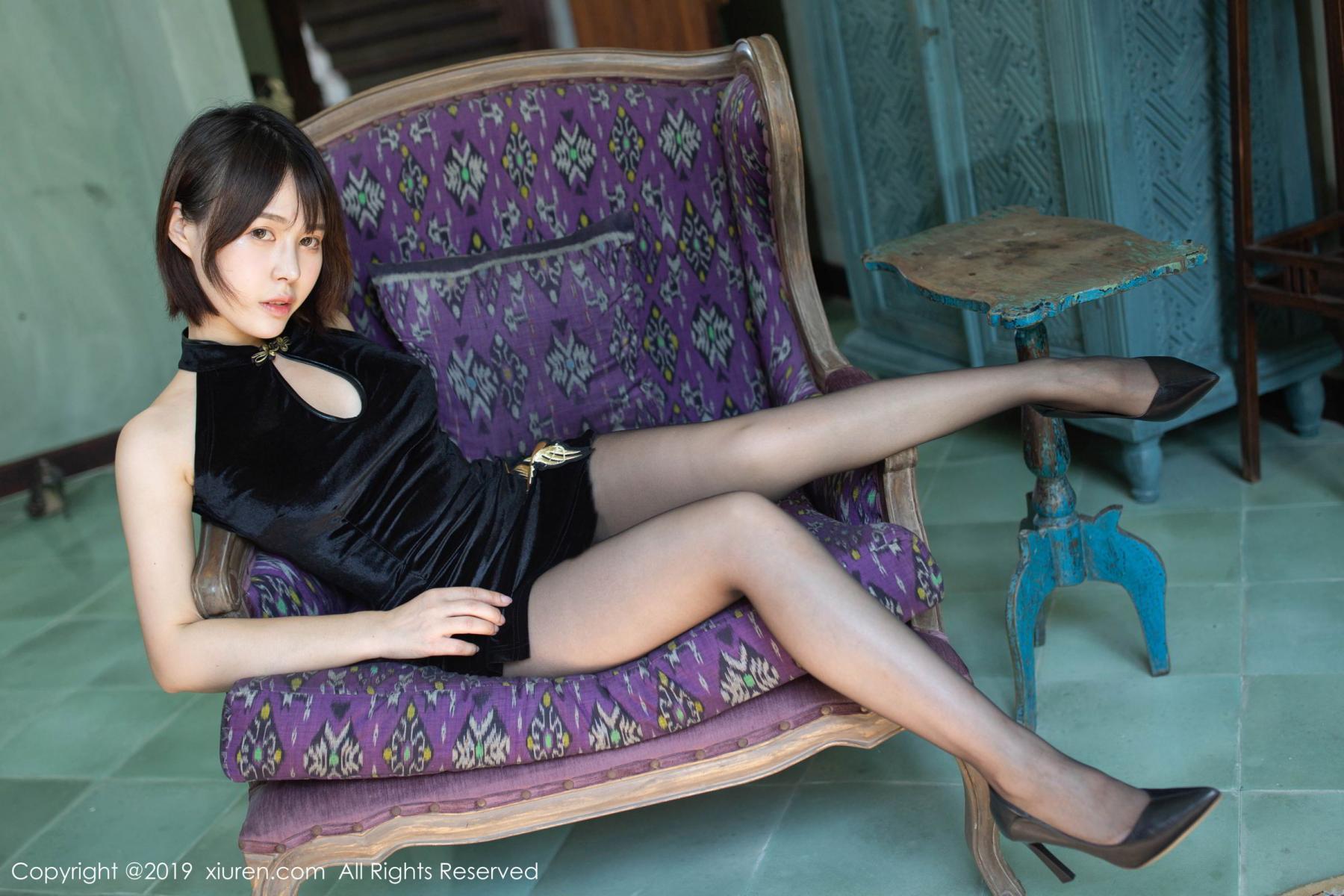 [XiuRen] Vol.1773 Evelyn Ai Li 6P, Black Silk, Cheongsam, Evelyn Ai Li, Xiuren
