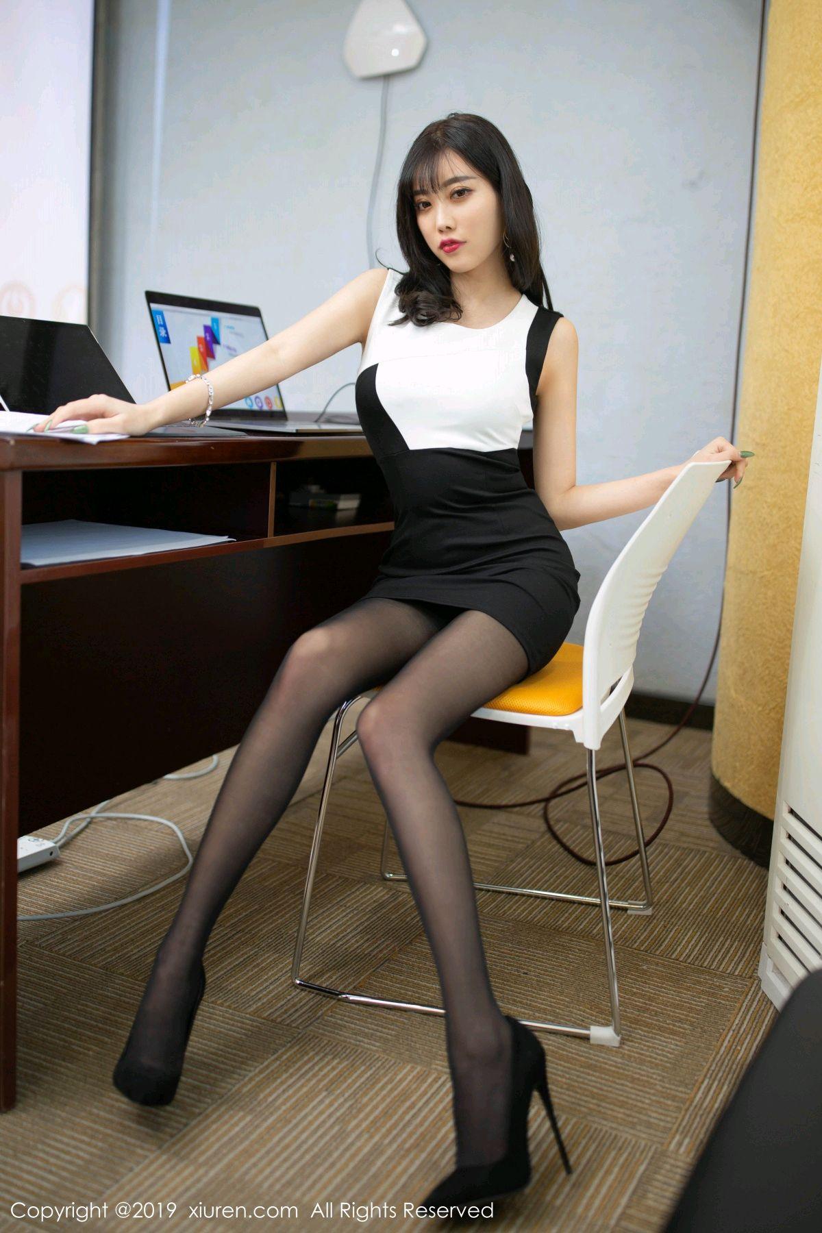 [XiuRen] Vol.1803 Yang Chen Chen 16P, Black Silk, Uniform, Xiuren, Yang Chen Chen