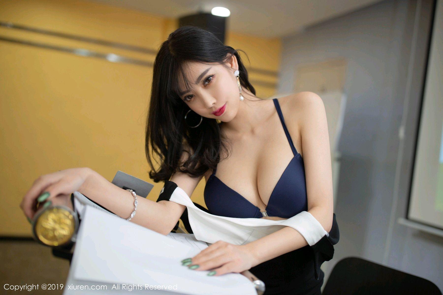 [XiuRen] Vol.1803 Yang Chen Chen 3P, Black Silk, Uniform, Xiuren, Yang Chen Chen