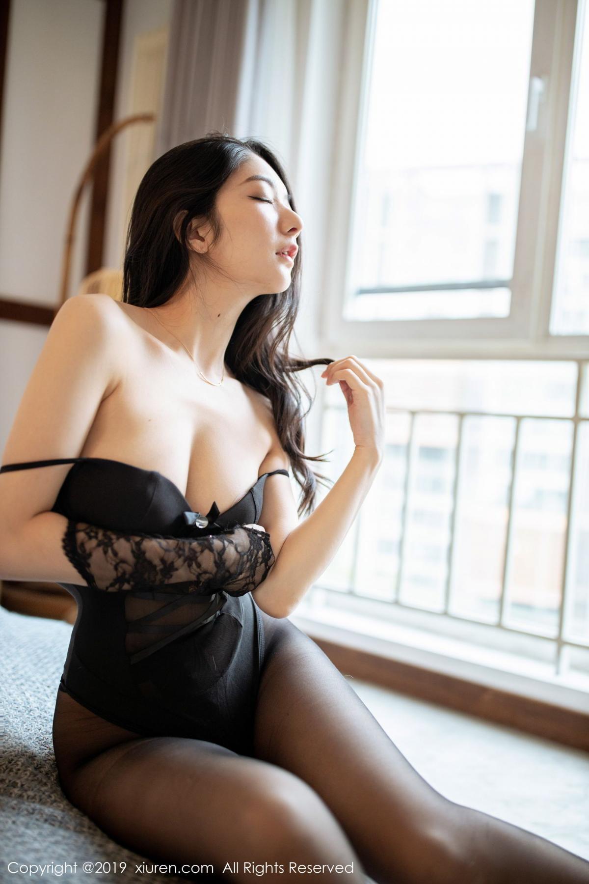 [XiuRen] Vol.1808 Di Yi 28P, Black Silk, Di Yi, Underwear, Xiuren