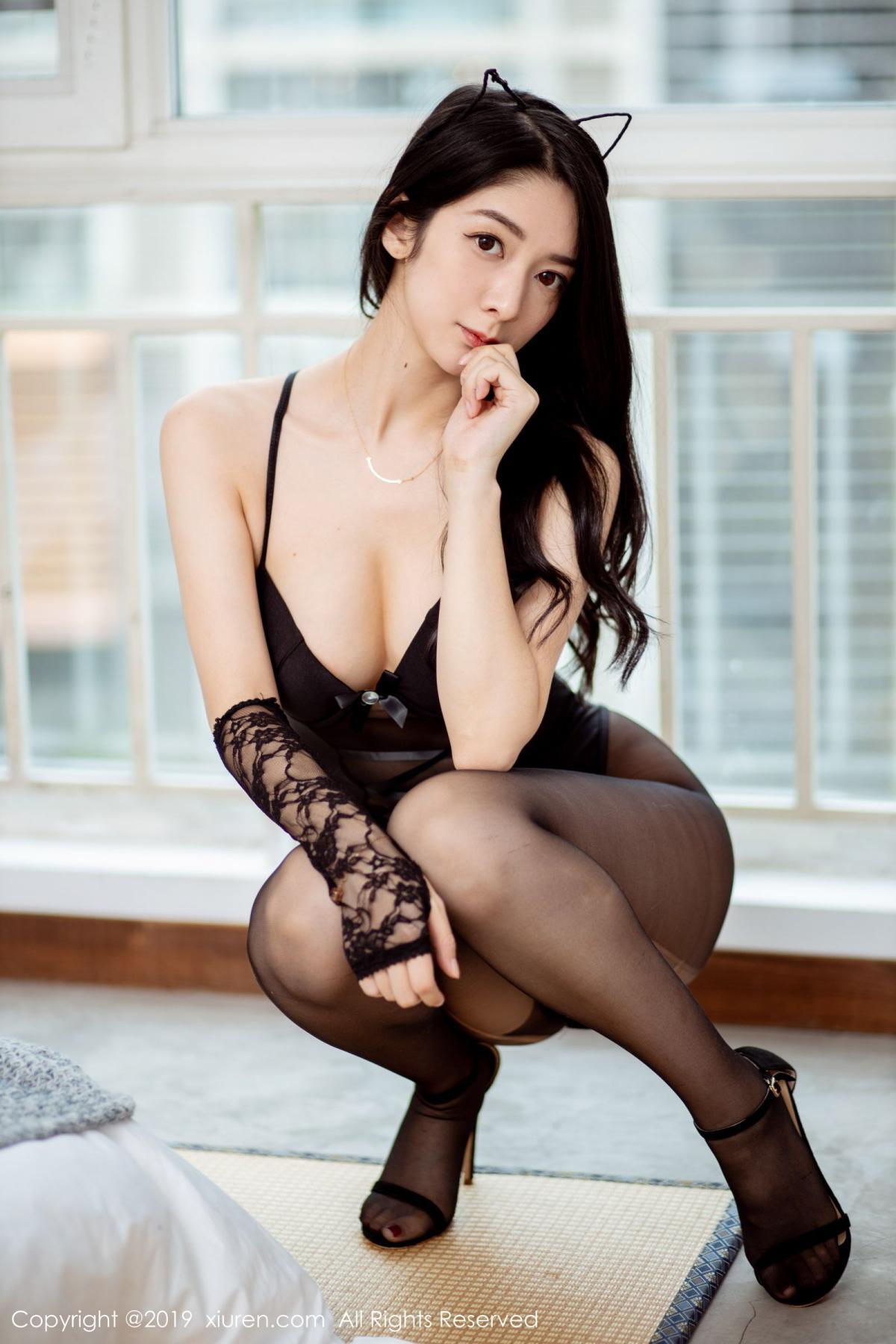 [XiuRen] Vol.1808 Di Yi 2P, Black Silk, Di Yi, Underwear, Xiuren