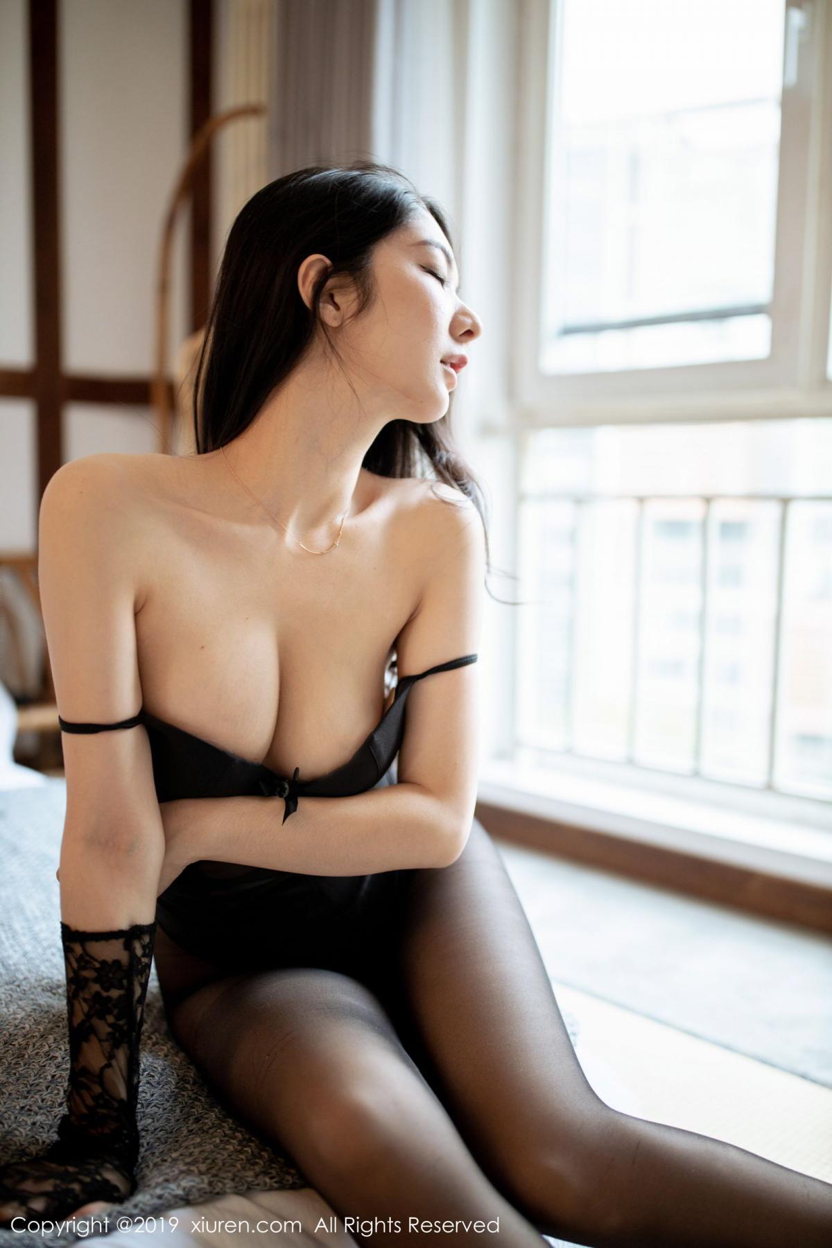 [XiuRen] Vol.1808 Di Yi 34P, Black Silk, Di Yi, Underwear, Xiuren