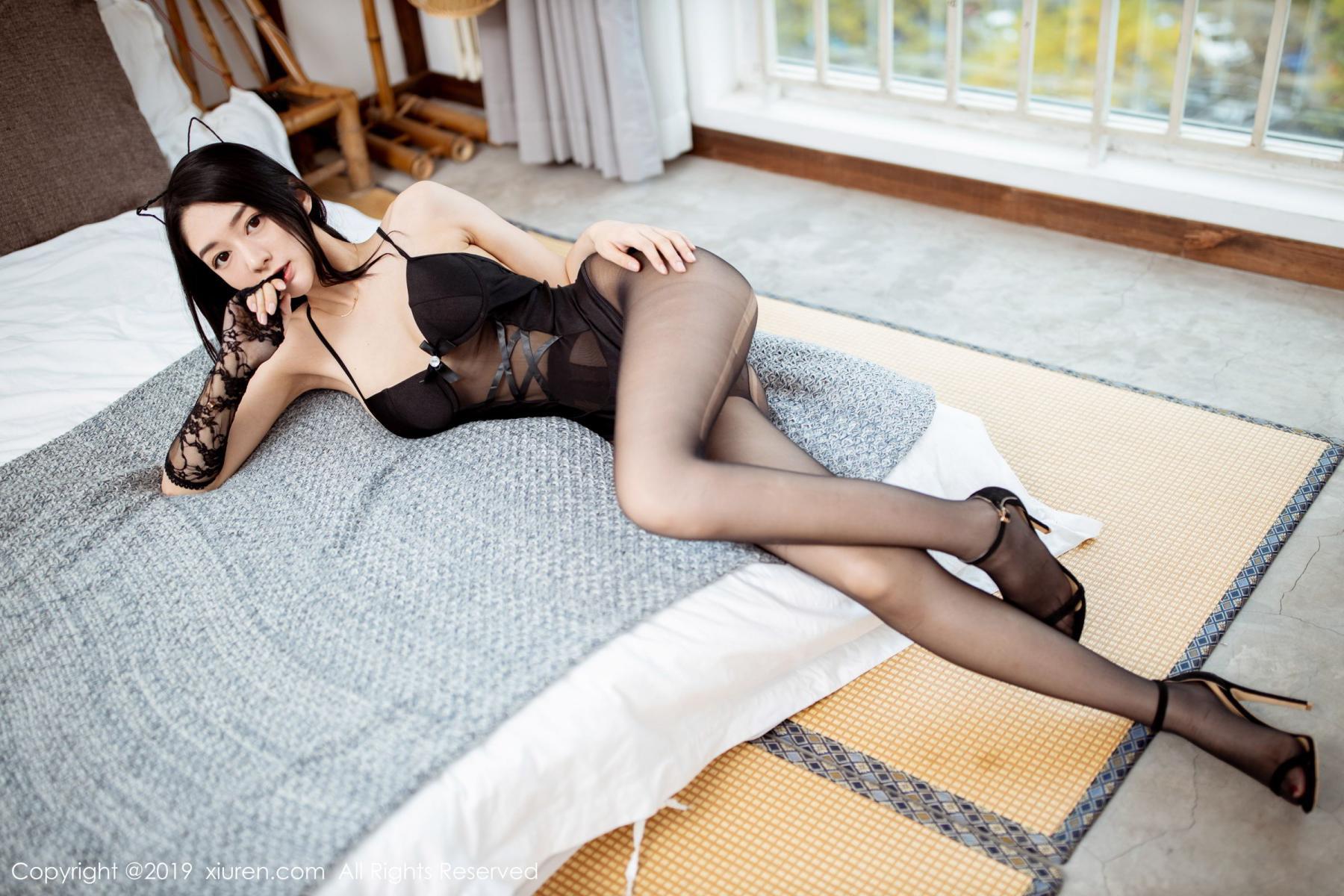 [XiuRen] Vol.1808 Di Yi 9P, Black Silk, Di Yi, Underwear, Xiuren