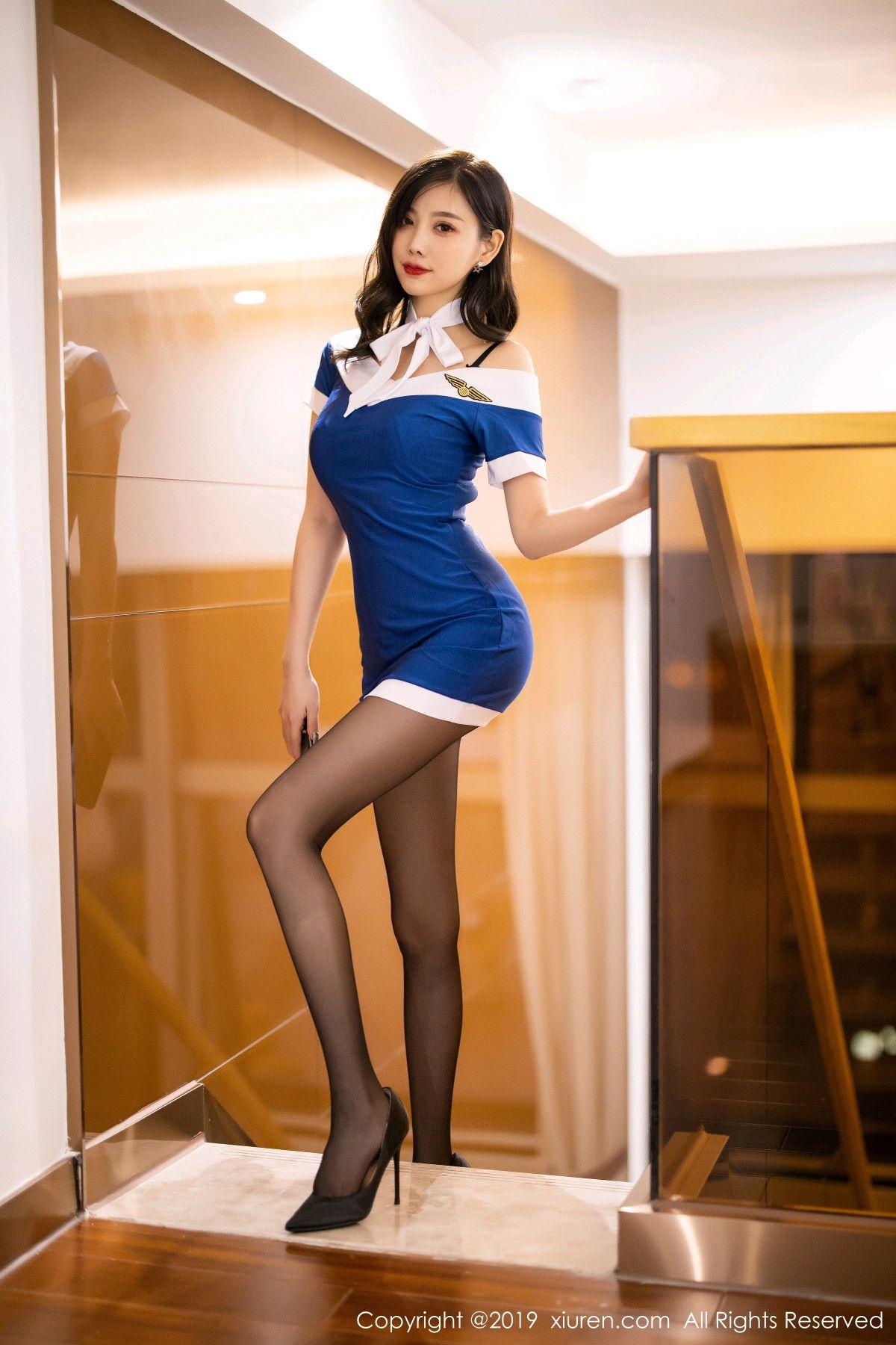 [XiuRen] Vol.1822 Yang Chen Chen 2P, Black Silk, Stewardess, Xiuren, Yang Chen Chen