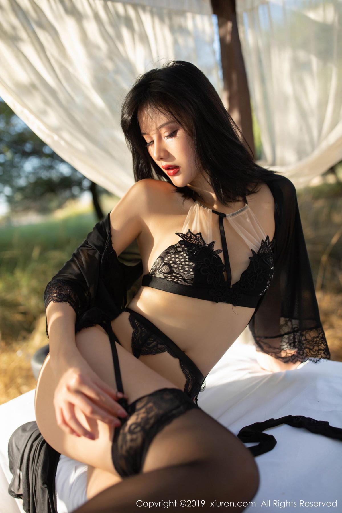[XiuRen] Vol.1830 Jiu Shi A Zhu 13P, Black Silk, Jiu Shi A Zhu, Outdoor, Underwear, Xiuren