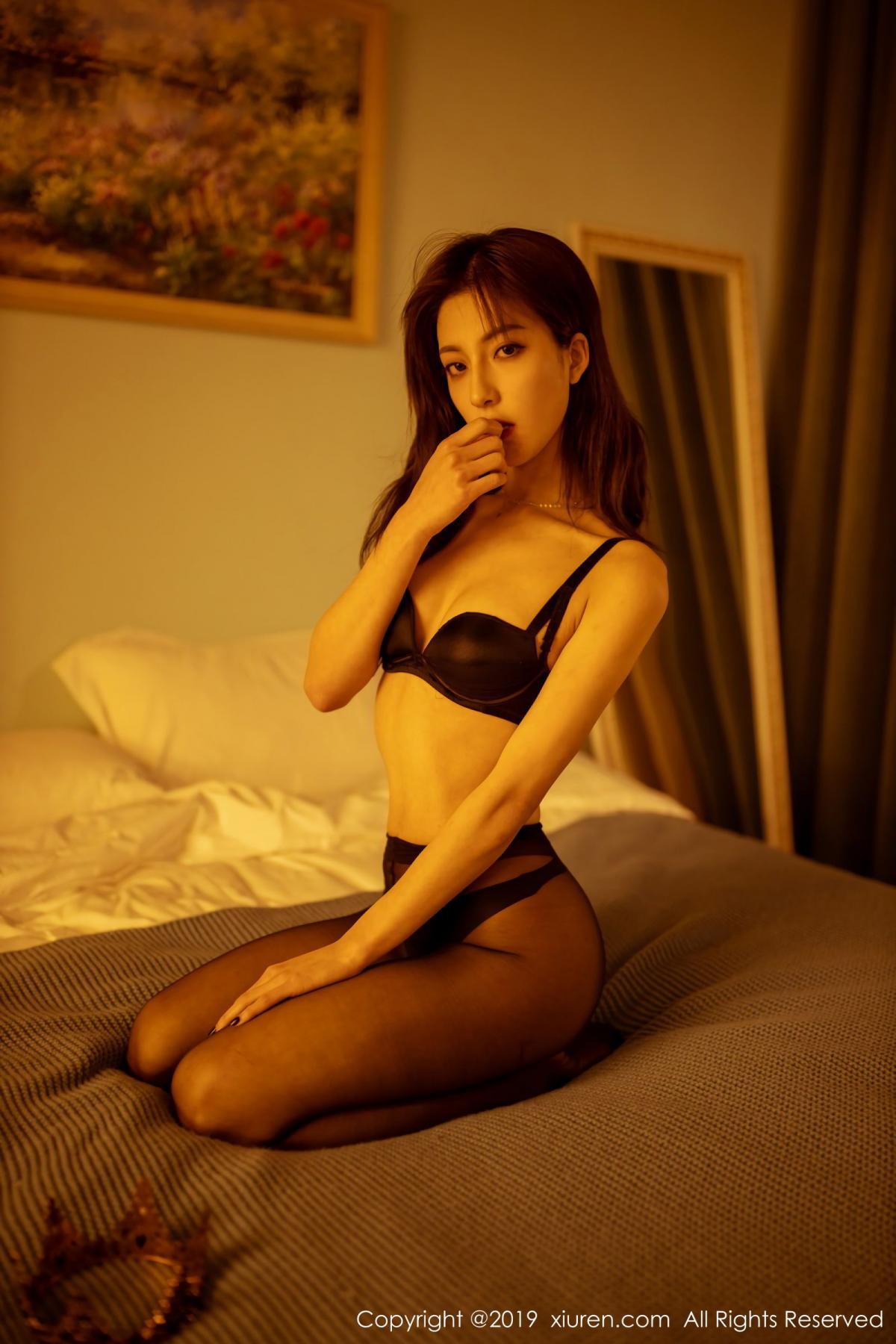 [XiuRen] Vol.1868 Lin Wen Wen 45P, Black Silk, Lin Wen Wen, Underwear, Xiuren