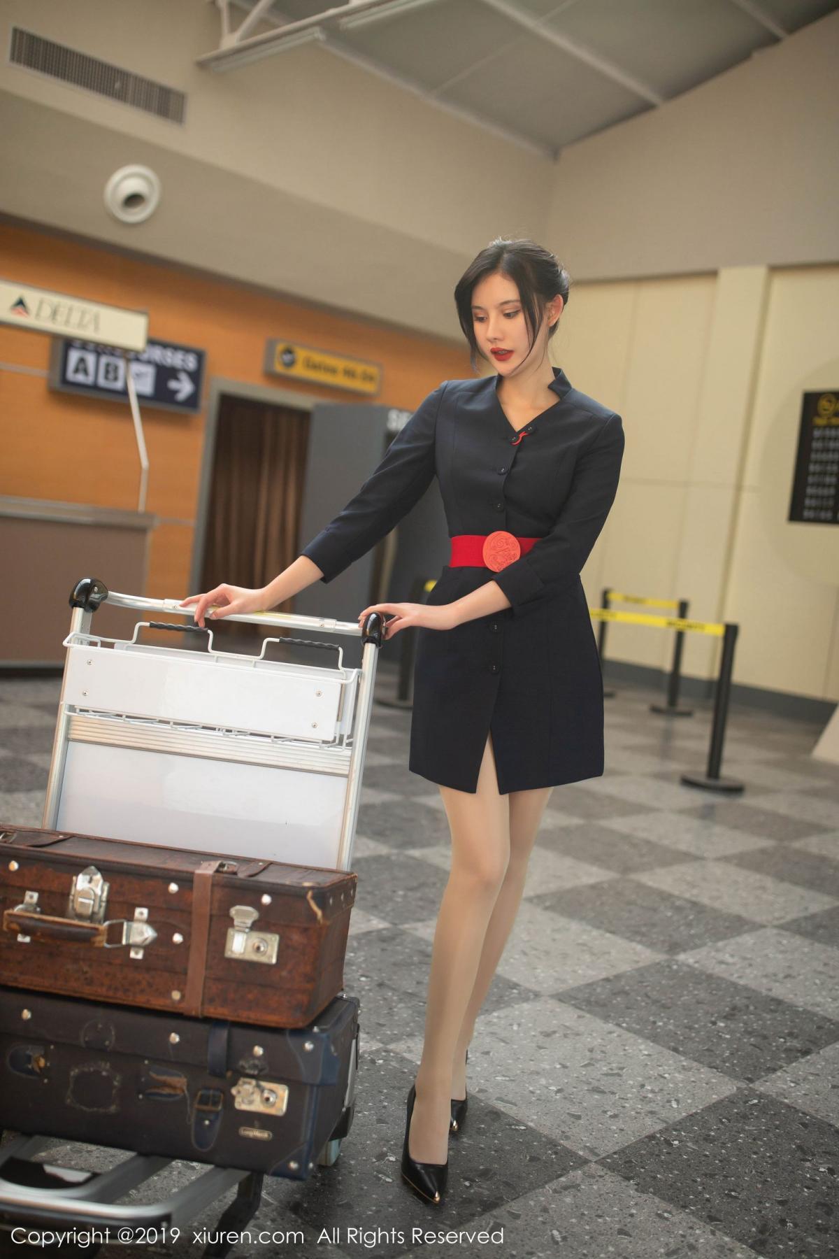[XiuRen] Vol.1881 Jiu Shi A Zhu 12P, Black Silk, Jiu Shi A Zhu, Stewardess, Uniform, Xiuren