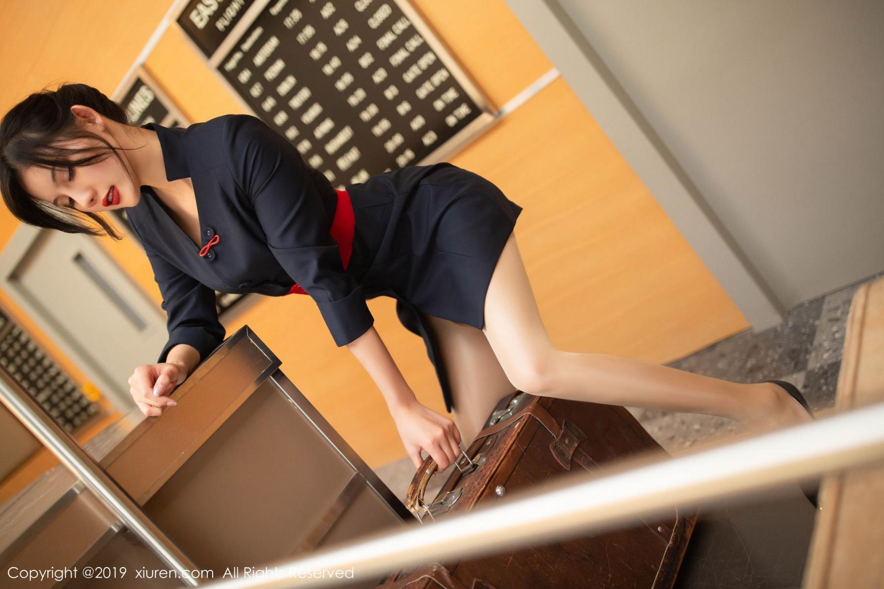 [XiuRen] Vol.1881 Jiu Shi A Zhu 21P, Black Silk, Jiu Shi A Zhu, Stewardess, Uniform, Xiuren
