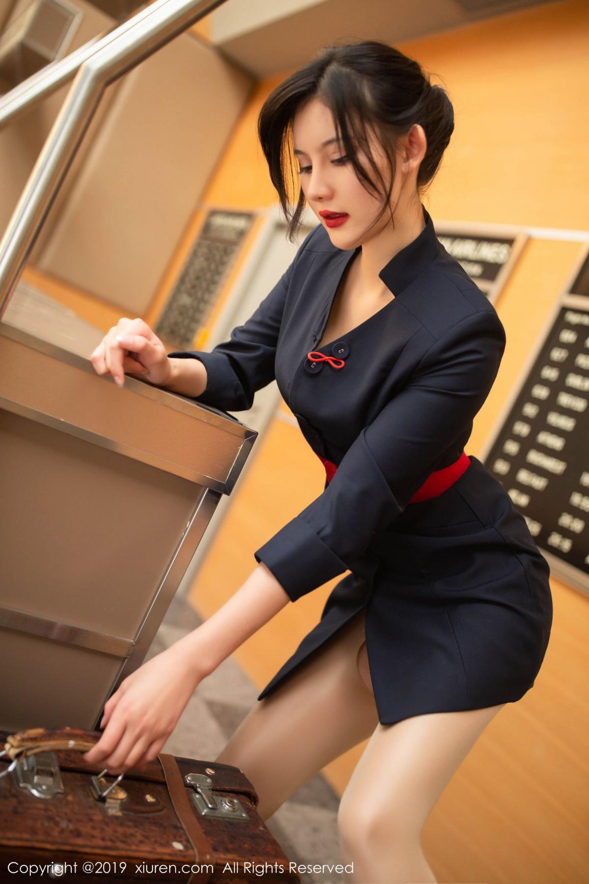 [XiuRen] Vol.1881 Jiu Shi A Zhu 23P, Black Silk, Jiu Shi A Zhu, Stewardess, Uniform, Xiuren
