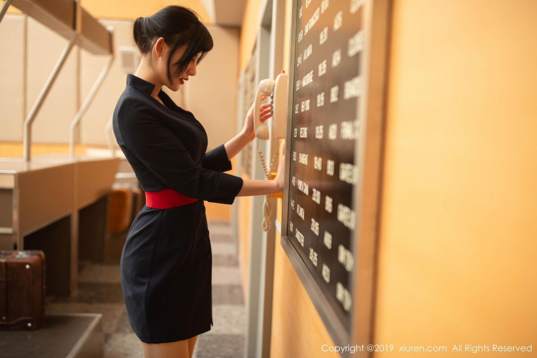 [XiuRen] Vol.1881 Jiu Shi A Zhu 26P, Black Silk, Jiu Shi A Zhu, Stewardess, Uniform, Xiuren