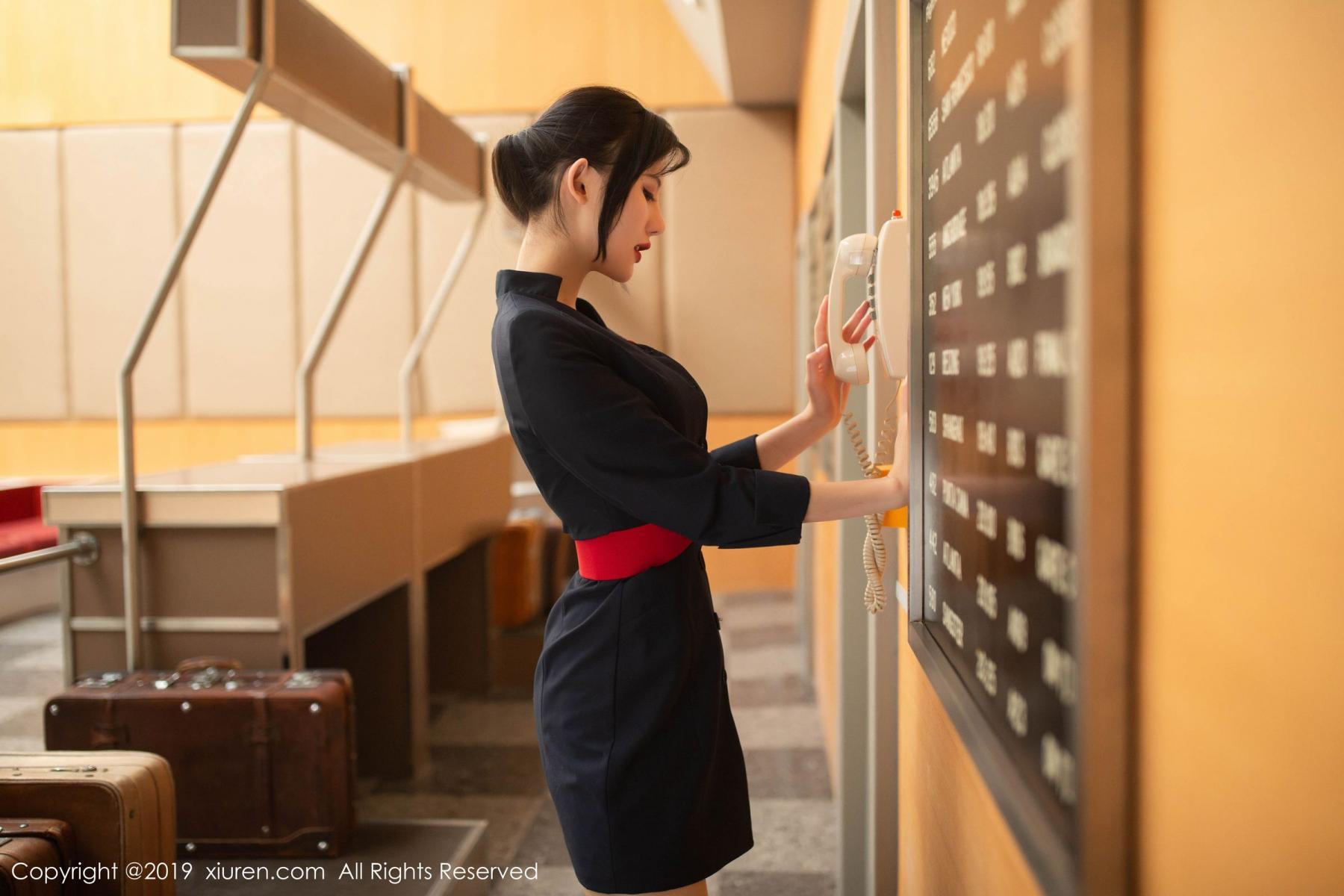 [XiuRen] Vol.1881 Jiu Shi A Zhu 27P, Black Silk, Jiu Shi A Zhu, Stewardess, Uniform, Xiuren