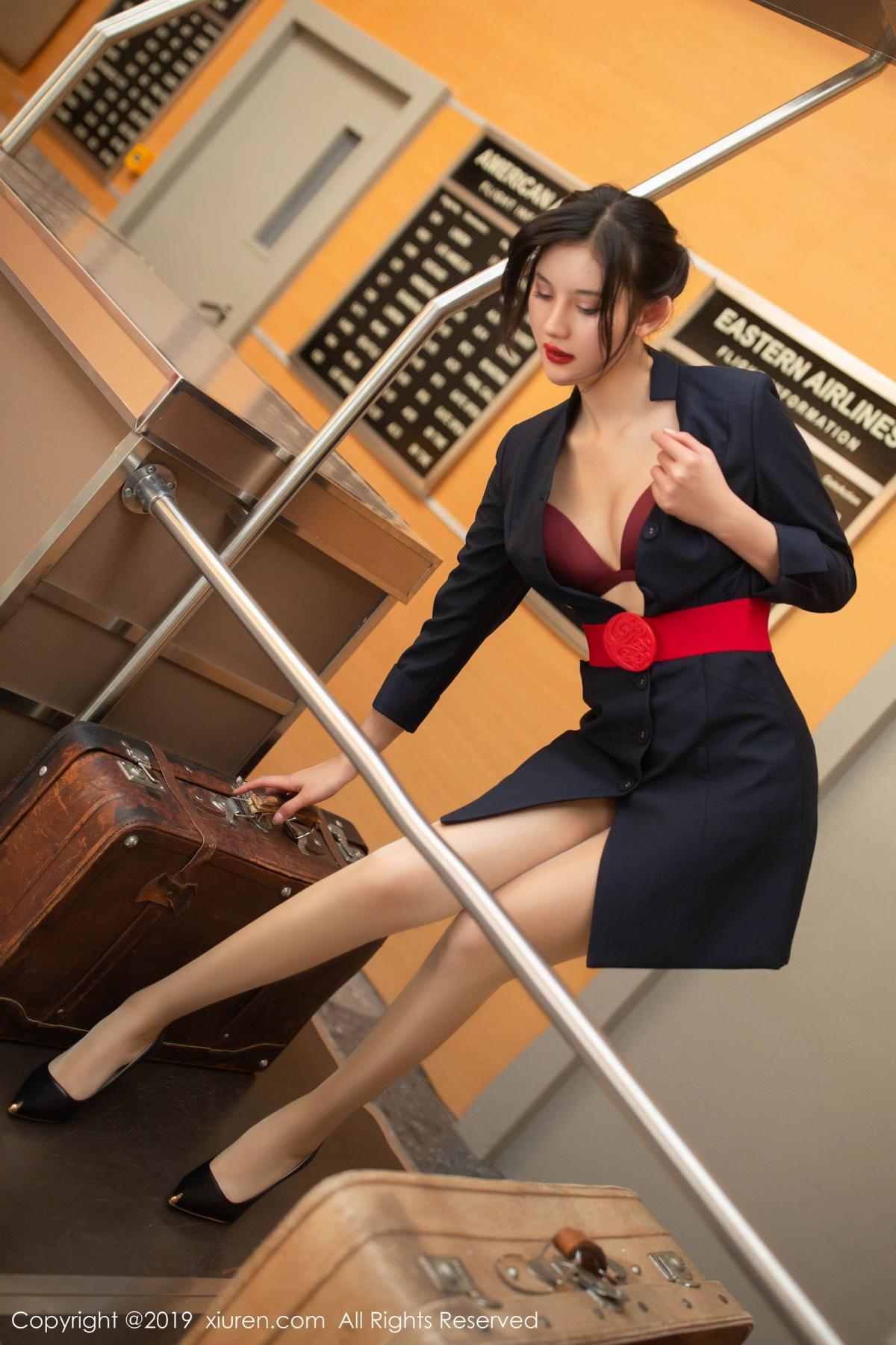 [XiuRen] Vol.1881 Jiu Shi A Zhu 33P, Black Silk, Jiu Shi A Zhu, Stewardess, Uniform, Xiuren