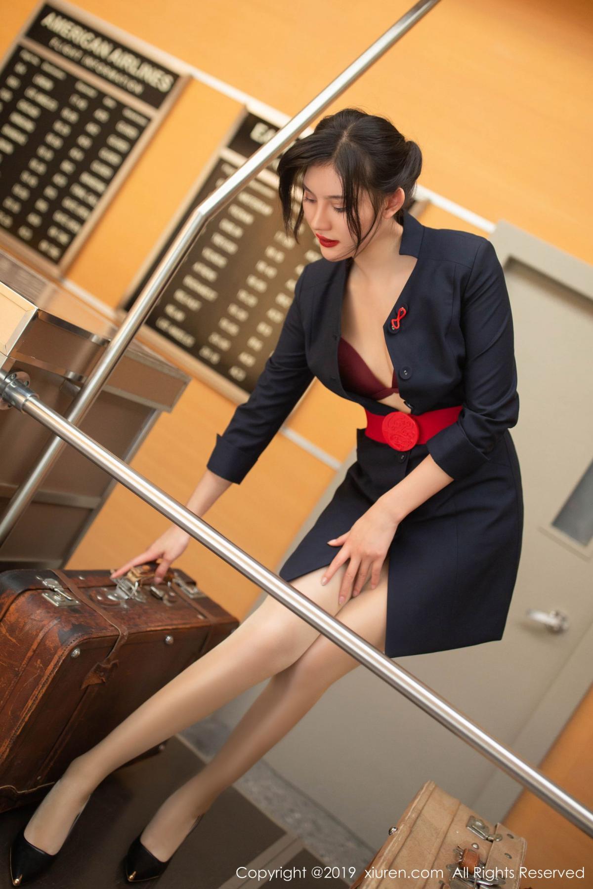 [XiuRen] Vol.1881 Jiu Shi A Zhu 34P, Black Silk, Jiu Shi A Zhu, Stewardess, Uniform, Xiuren
