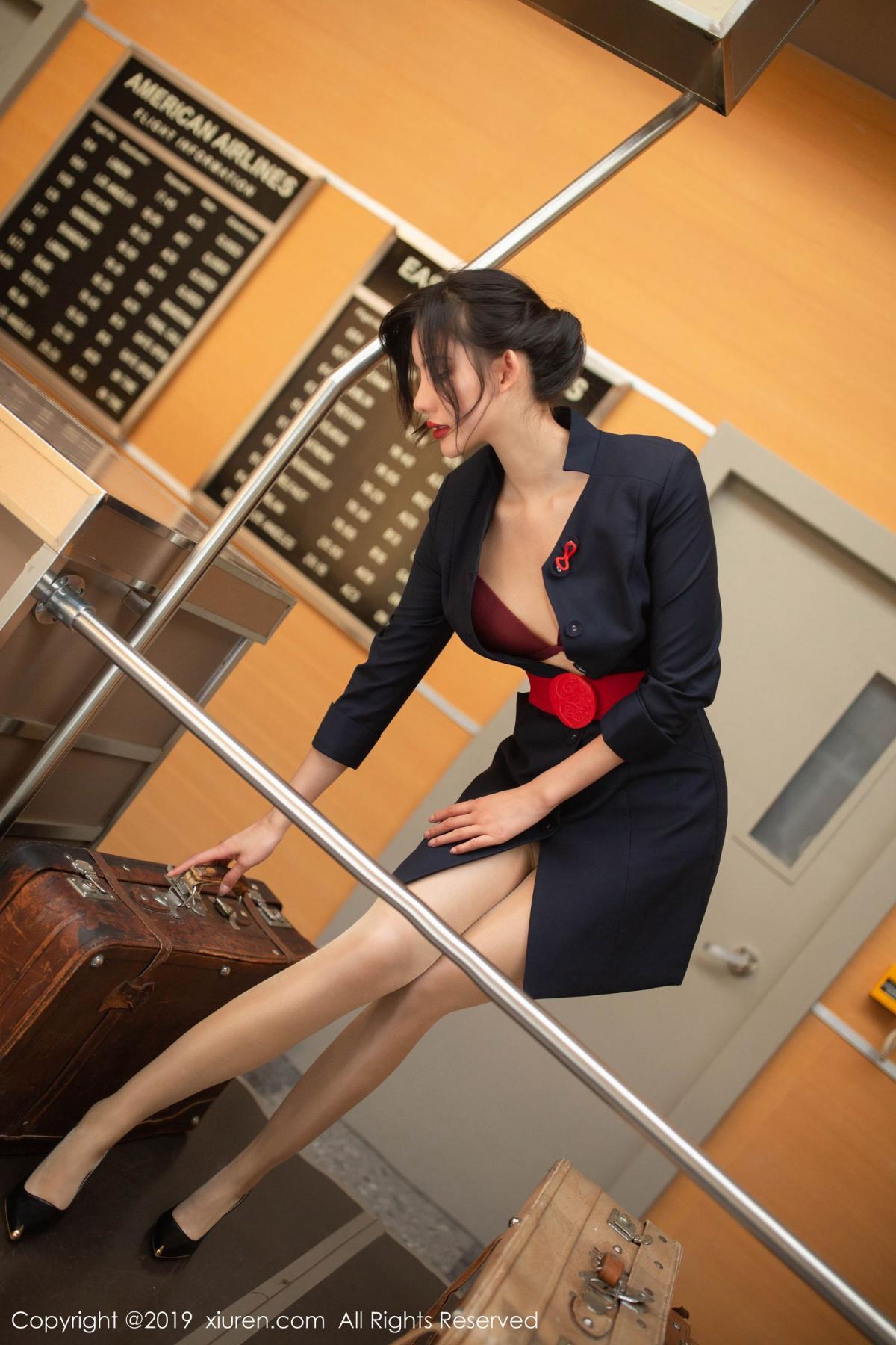 [XiuRen] Vol.1881 Jiu Shi A Zhu 35P, Black Silk, Jiu Shi A Zhu, Stewardess, Uniform, Xiuren