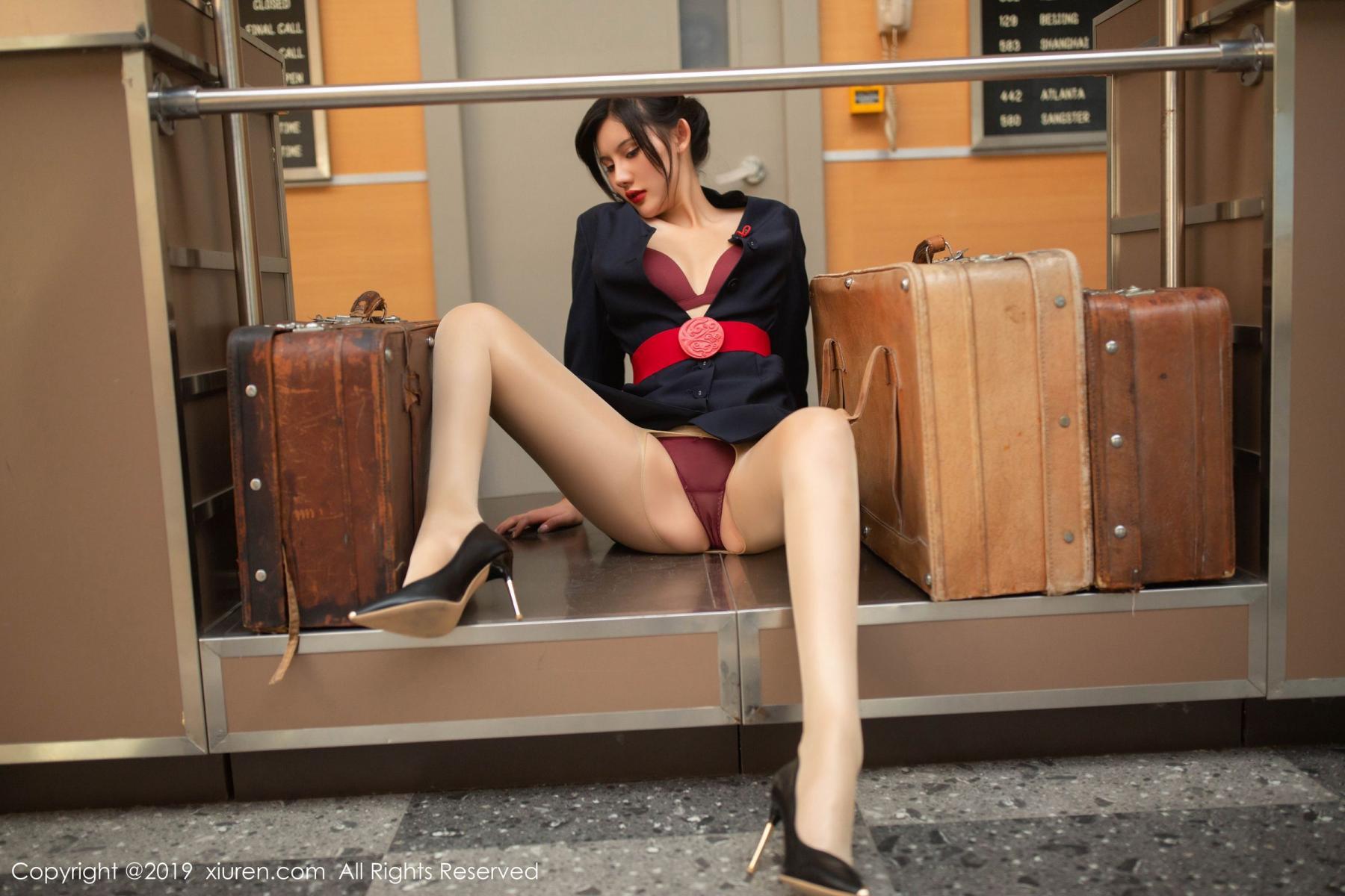 [XiuRen] Vol.1881 Jiu Shi A Zhu 37P, Black Silk, Jiu Shi A Zhu, Stewardess, Uniform, Xiuren