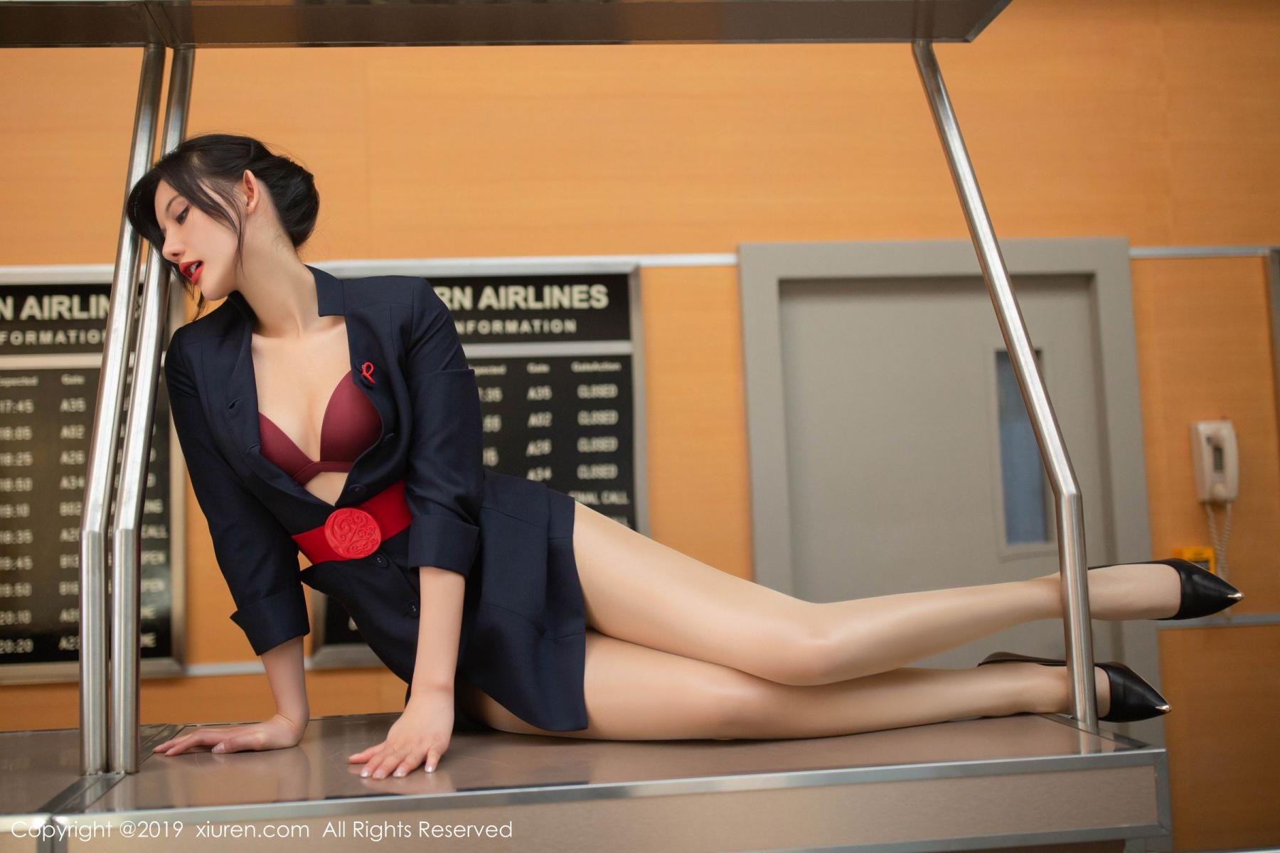 [XiuRen] Vol.1881 Jiu Shi A Zhu 43P, Black Silk, Jiu Shi A Zhu, Stewardess, Uniform, Xiuren