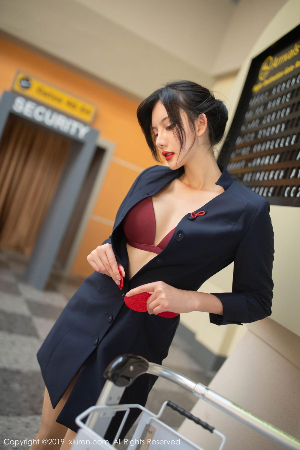 [XiuRen] Vol.1881 Jiu Shi A Zhu 66P, Black Silk, Jiu Shi A Zhu, Stewardess, Uniform, Xiuren