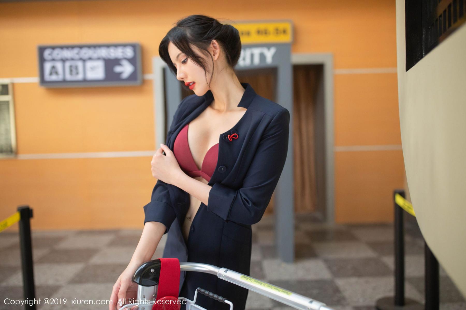 [XiuRen] Vol.1881 Jiu Shi A Zhu 67P, Black Silk, Jiu Shi A Zhu, Stewardess, Uniform, Xiuren