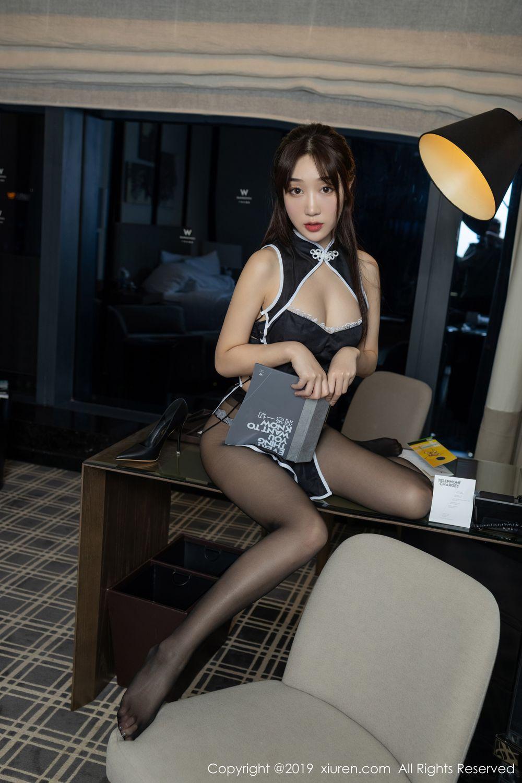 [XiuRen] Vol.1896 Jiu Yue Sheng 15P, Bellyband, Black Silk, Cheongsam, Xiao Jiu Yue, Xiuren