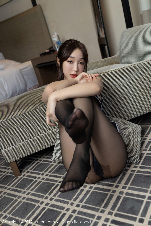 [XiuRen] Vol.1896 Jiu Yue Sheng 23P, Bellyband, Black Silk, Cheongsam, Xiao Jiu Yue, Xiuren