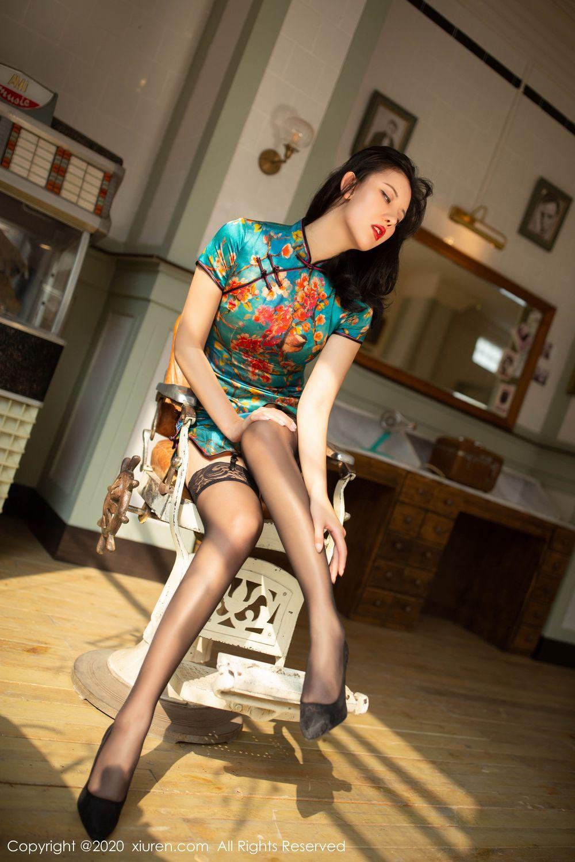 [XiuRen] Vol.1903 Jiu Shi A Zhu 15P, Black Silk, Cheongsam, Jiu Shi A Zhu, Tall, Underwear, Xiuren