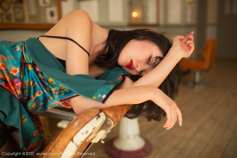 [XiuRen] Vol.1903 Jiu Shi A Zhu 66P, Black Silk, Cheongsam, Jiu Shi A Zhu, Tall, Underwear, Xiuren