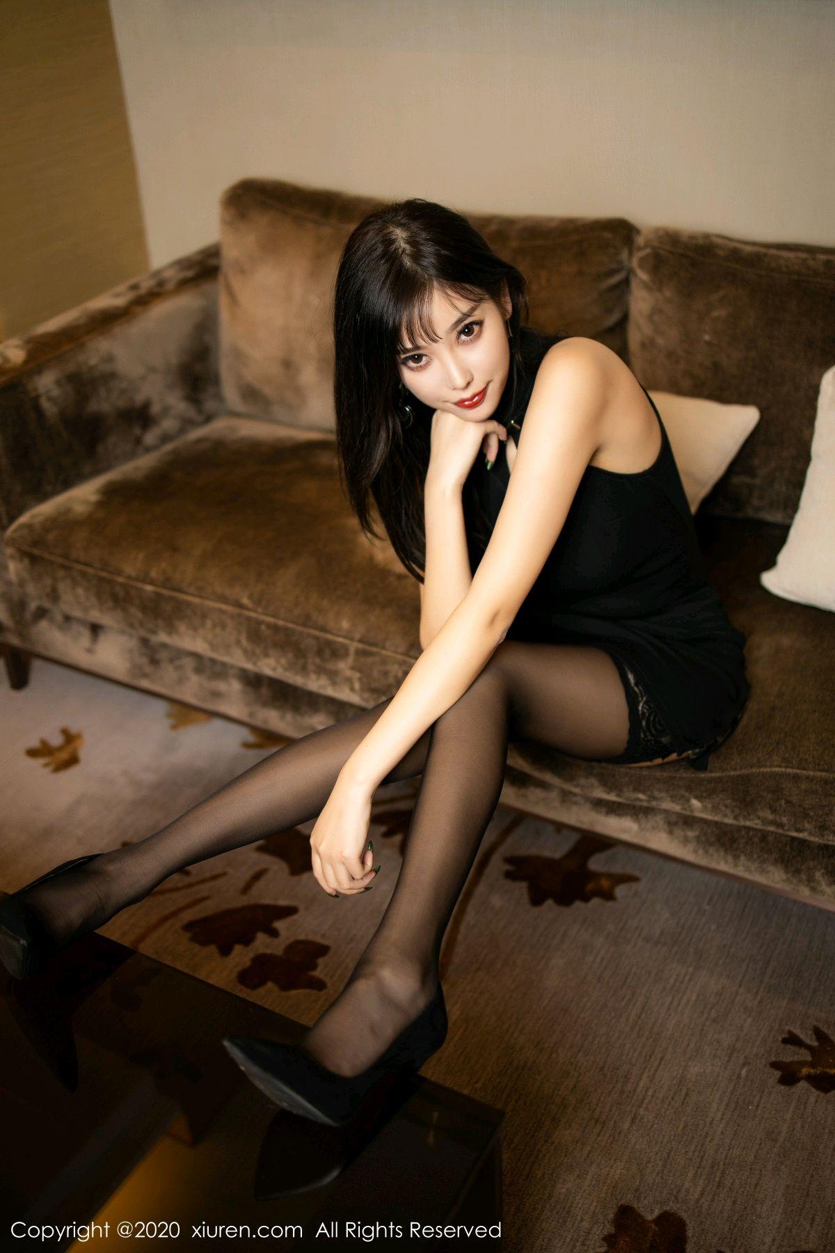 [XiuRen] Vol.1911 Yang Chen Chen 9P, Black Silk, Cheongsam, Tall, Xiuren, Yang Chen Chen