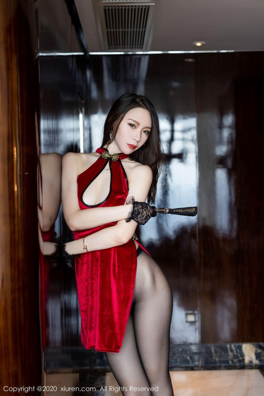 [XiuRen] Vol.1946 Meng Xin Yue 2P, Black Silk, Cheongsam, Meng Xin Yue, Tall, Xiuren