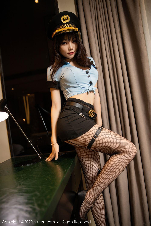 [XiuRen] Vol.1982 Zhi Zhi Booty 12P, Black Silk, Chen Zhi, Policewoman, Uniform, Xiuren