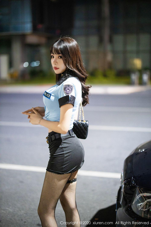 [XiuRen] Vol.1982 Zhi Zhi Booty 4P, Black Silk, Chen Zhi, Policewoman, Uniform, Xiuren