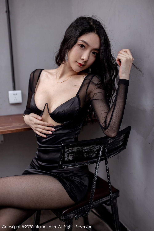 [XiuRen] Vol.1999 Xiao Re Ba 34P, Black Silk, Di Yi, Underwear, Xiuren