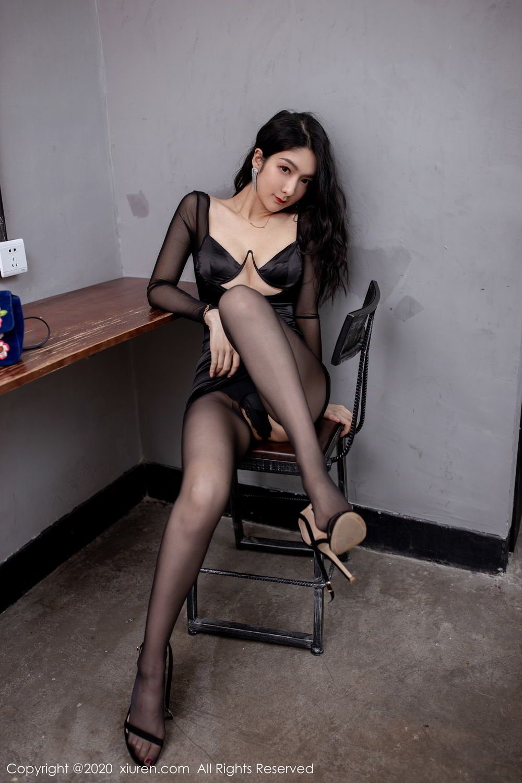 [XiuRen] Vol.1999 Xiao Re Ba 37P, Black Silk, Di Yi, Underwear, Xiuren