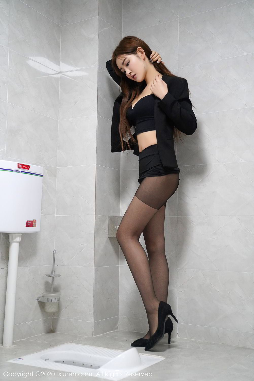 [XiuRen] Vol.2017 Shen Meng Yao 14P, Black Silk, Shen Meng Yao, Tall, Uniform, Xiuren