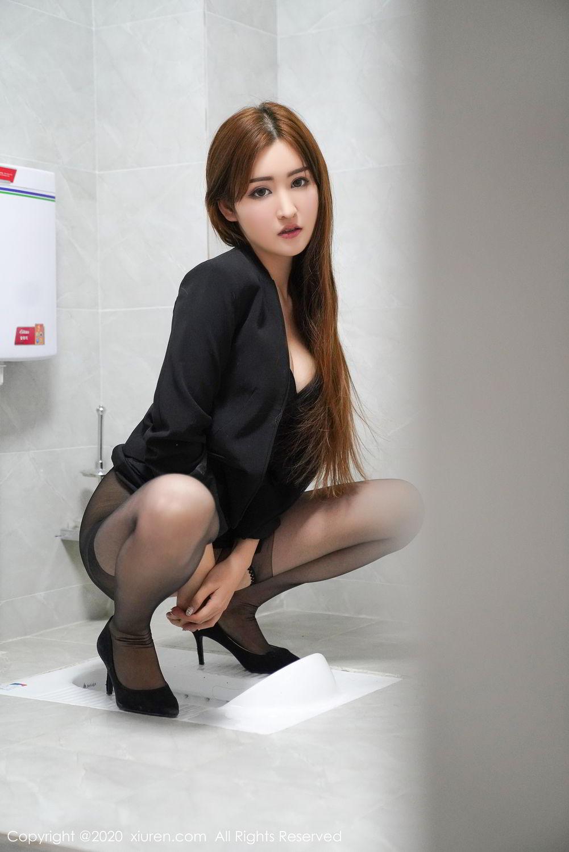 [XiuRen] Vol.2017 Shen Meng Yao 15P, Black Silk, Shen Meng Yao, Tall, Uniform, Xiuren