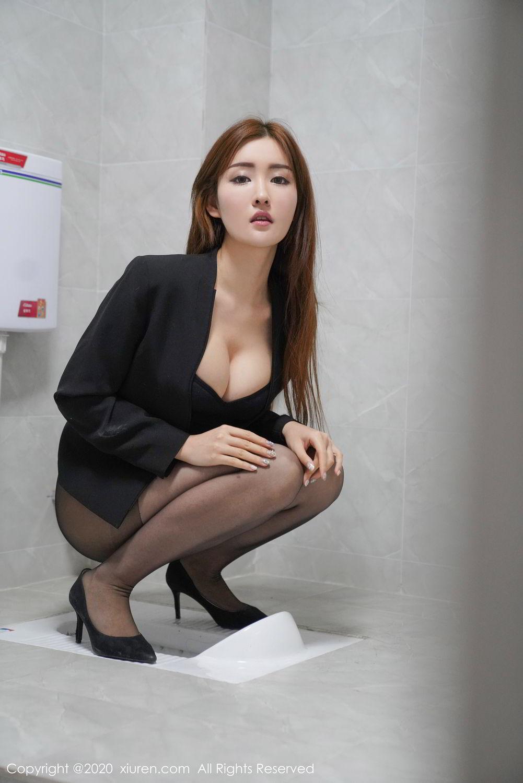[XiuRen] Vol.2017 Shen Meng Yao 16P, Black Silk, Shen Meng Yao, Tall, Uniform, Xiuren
