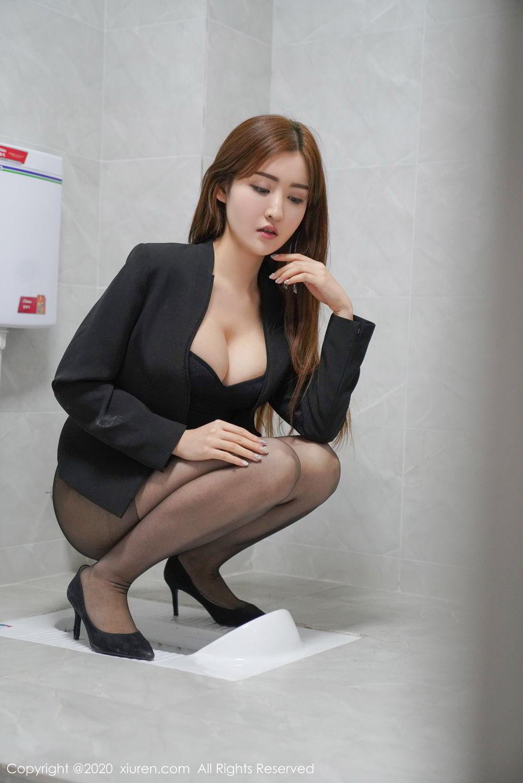 [XiuRen] Vol.2017 Shen Meng Yao 17P, Black Silk, Shen Meng Yao, Tall, Uniform, Xiuren