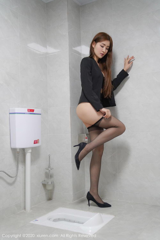 [XiuRen] Vol.2017 Shen Meng Yao 1P, Black Silk, Shen Meng Yao, Tall, Uniform, Xiuren