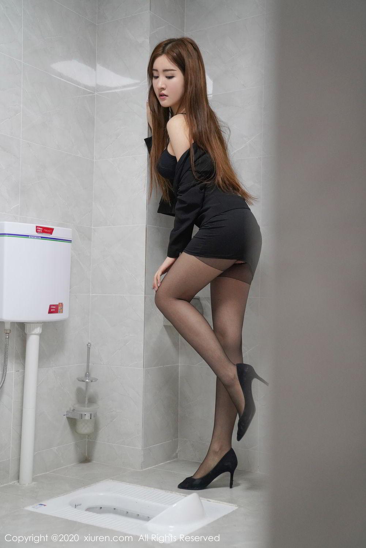 [XiuRen] Vol.2017 Shen Meng Yao 2P, Black Silk, Shen Meng Yao, Tall, Uniform, Xiuren