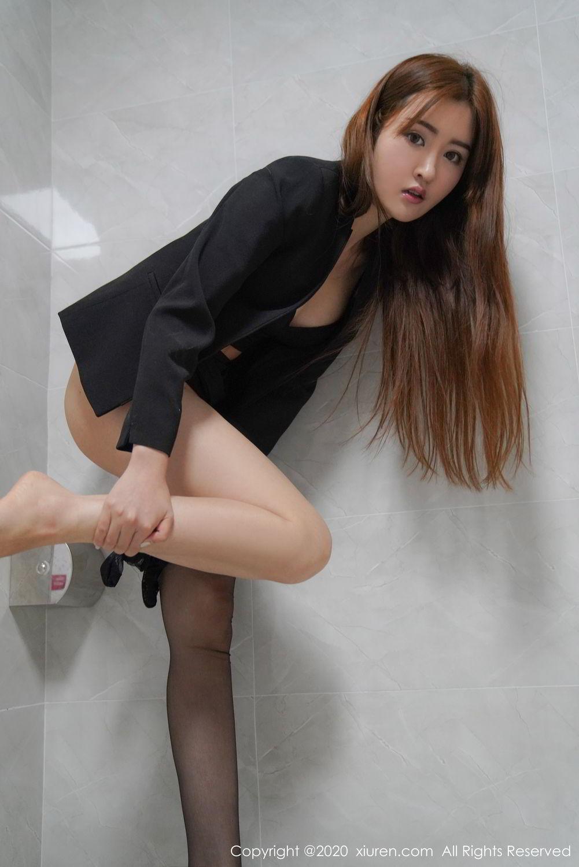 [XiuRen] Vol.2017 Shen Meng Yao 38P, Black Silk, Shen Meng Yao, Tall, Uniform, Xiuren