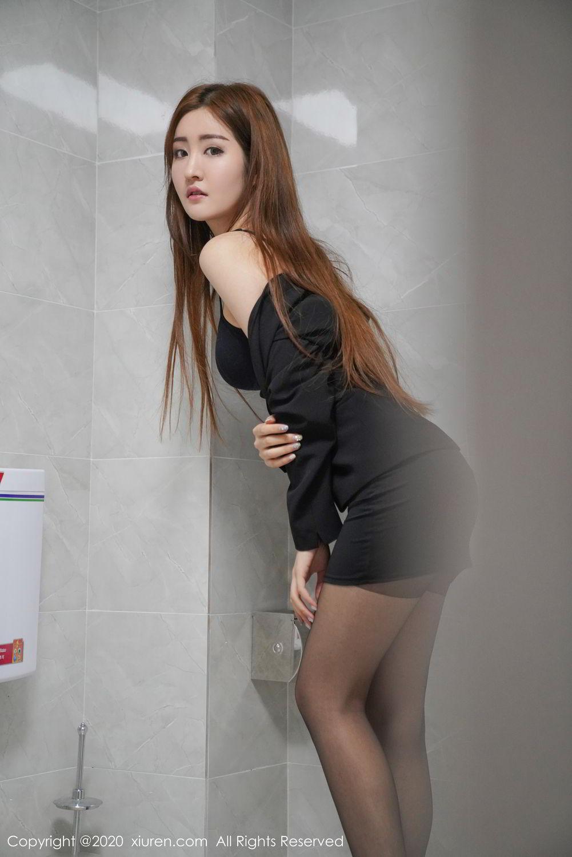 [XiuRen] Vol.2017 Shen Meng Yao 3P, Black Silk, Shen Meng Yao, Tall, Uniform, Xiuren
