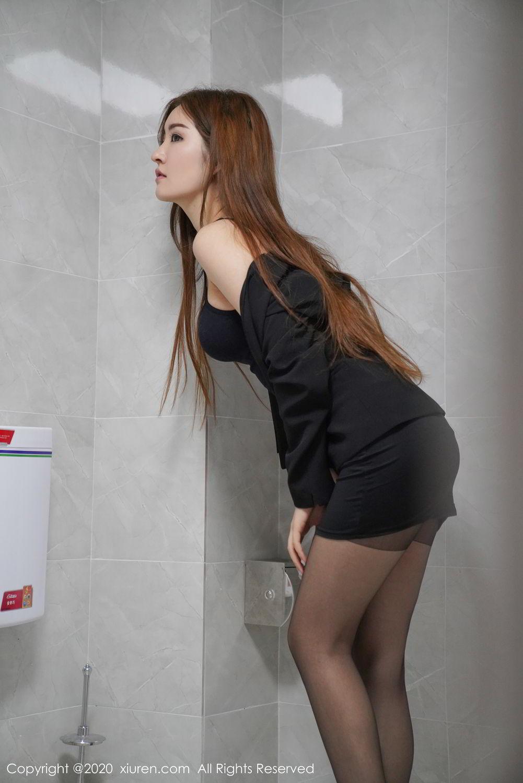 [XiuRen] Vol.2017 Shen Meng Yao 8P, Black Silk, Shen Meng Yao, Tall, Uniform, Xiuren