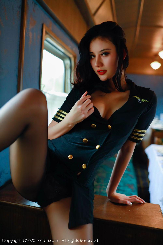 [XiuRen] Vol.2036 Jiu Shi A Zhu 11P, Black Silk, Jiu Shi A Zhu, Uniform, Xiuren