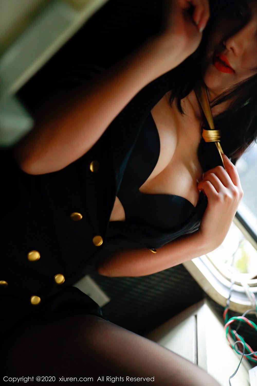 [XiuRen] Vol.2036 Jiu Shi A Zhu 91P, Black Silk, Jiu Shi A Zhu, Uniform, Xiuren