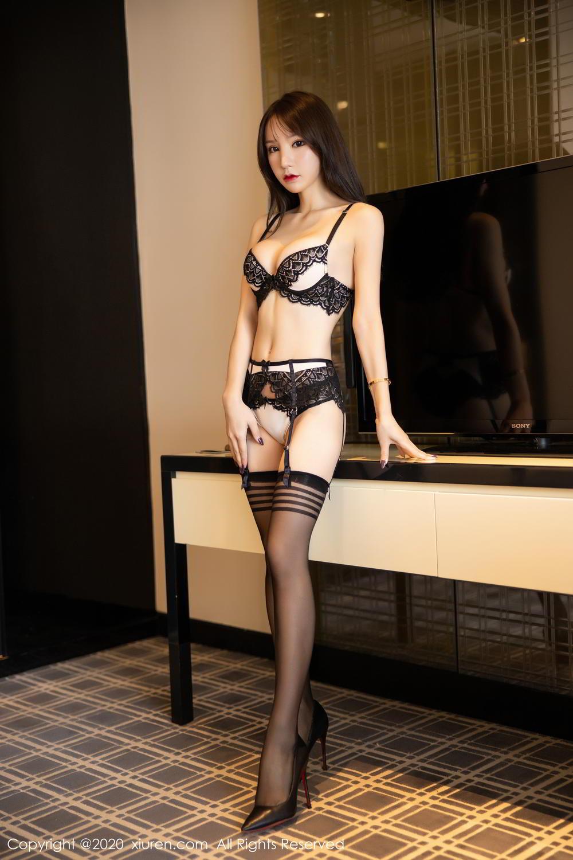 [XiuRen] Vol.2118 Zhou Yu Xi 6P, Black Silk, Tall, Underwear, Xiuren, Zhou Yu Xi