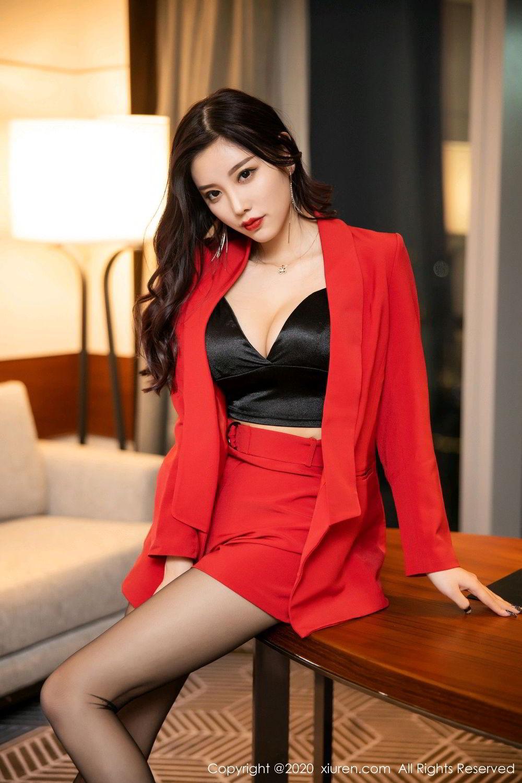 [XiuRen] Vol.2122 Yang Chen Chen 7P, Black Silk, Uniform, Xiuren, Yang Chen Chen