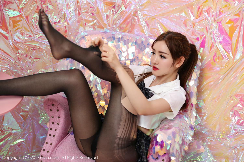 [XiuRen] Vol.2134 Shen Meng Yao 33P, Black Silk, School Uniform, Shen Meng Yao, Tall, Xiuren
