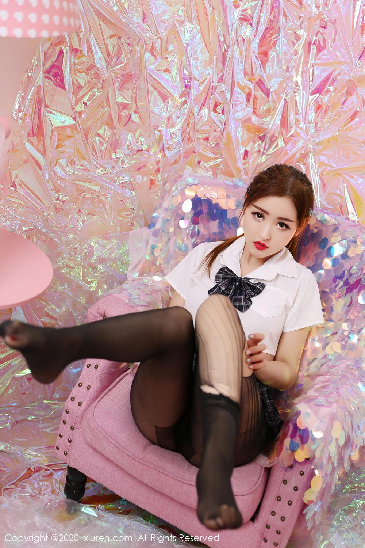 [XiuRen] Vol.2134 Shen Meng Yao 35P, Black Silk, School Uniform, Shen Meng Yao, Tall, Xiuren