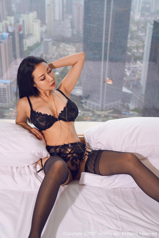 [XiuRen] Vol.2142 Guo Er Victoria 9P, Black Silk, Sexy, Song Guo Er, Underwear, Xiuren