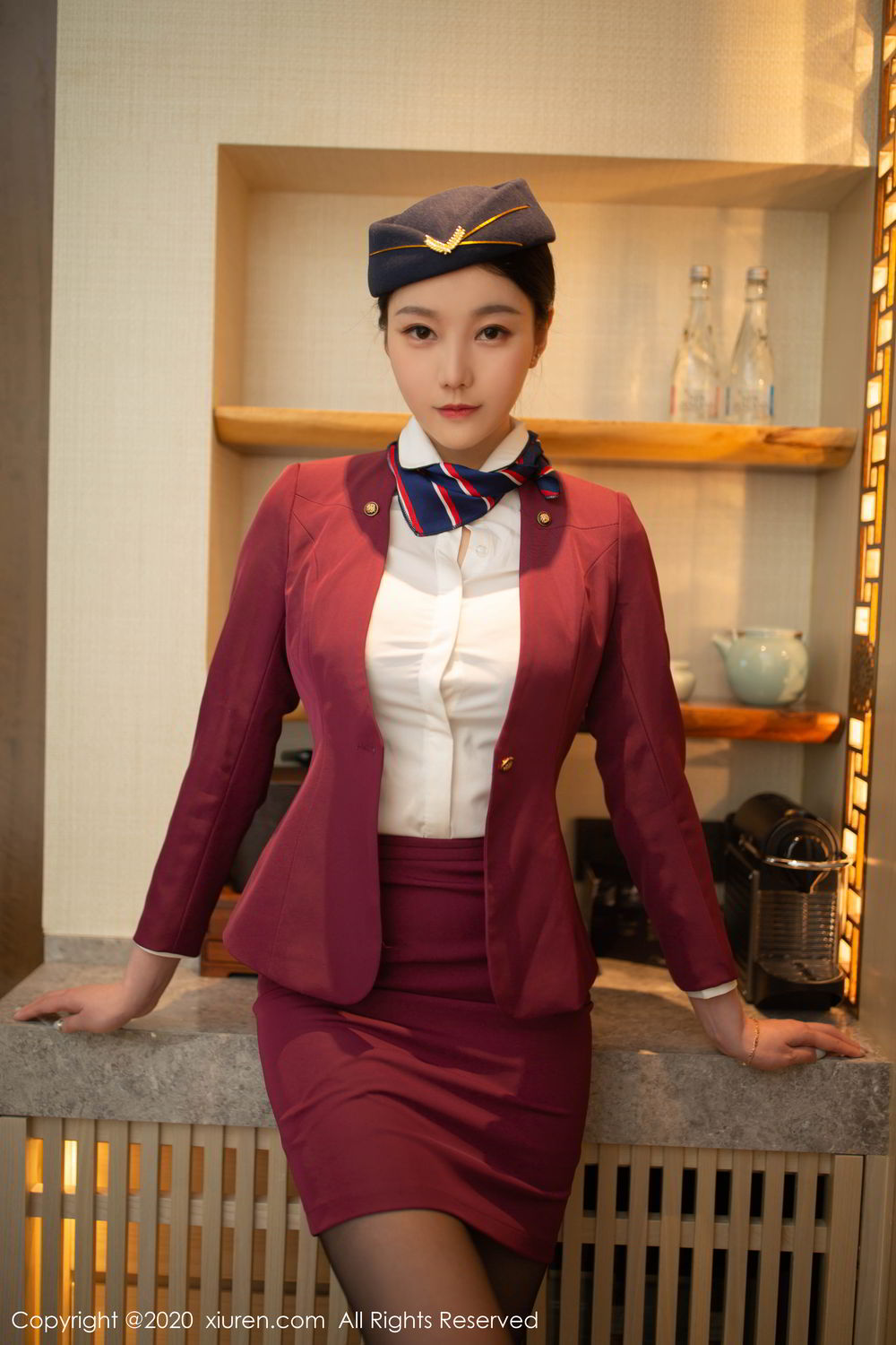 [XiuRen] Vol.2161 An Ran Maleah 19P, An Ran Maleah, Black Silk, Stewardess, Underwear, Uniform, Xiuren