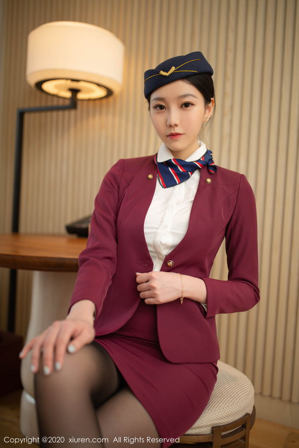 [XiuRen] Vol.2161 An Ran Maleah 23P, An Ran Maleah, Black Silk, Stewardess, Underwear, Uniform, Xiuren